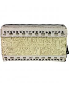 Montana West Trinity Ranch Beige Tooled Design Wallet