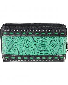 Montana West Trinity Ranch Black Tooled Design Wallet