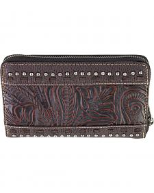 Montana West Trinity Ranch Coffee Tooled Design Wallet