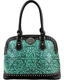 Montana West Trinity Ranch Turquoise Tooled Design Handbag