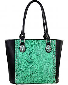 Montana West Trinity Ranch Black/Turquoise Tooled Design Concealed Handgun Collection Handbag