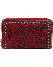 Montana West Trinity Ranch Red Tooled Design Wallet