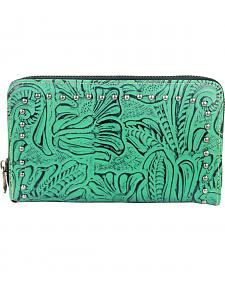 Montana West Trinity Ranch Turquoise Tooled Design Wallet