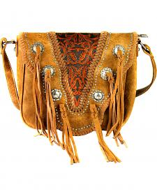 Montana West Trinity Ranch Vintage Tooling Pattern with Tassel Crossbody Bag