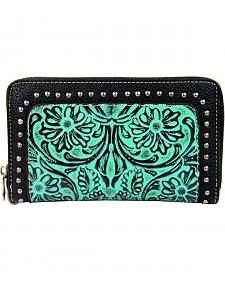 Montana West Trinity Ranch Tooled Wallet with Studs