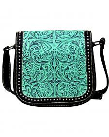 Montana West Trinity Ranch Tooled Design Messenger Bag with Studs
