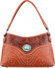 Montana West Trinity Ranch Tooled Design Handbag with Single Strap