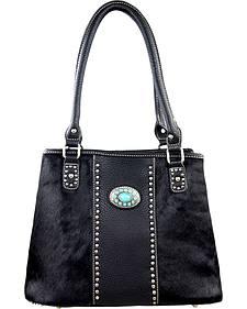 Montana West Trinity Ranch Black Hair-On Leather Collection Handbag