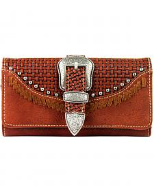 Montana West Trinity Ranch Buckle Wallet with Basket Weave