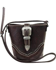 Montana West Trinity Ranch Basket Weave Buckle Design Handbag