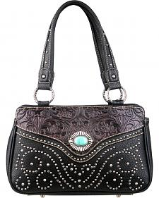 Montana West Trinity Ranch Black Tooled Design Handbag