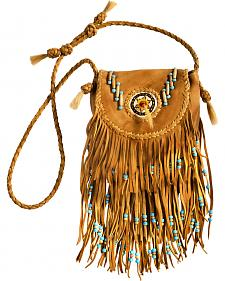 Kobler Leather Khaki Rossette Fringe Crossbody Bag