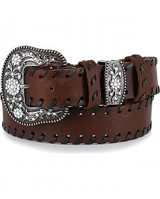 Shyanne Women's Brown Lace Stitched Belt