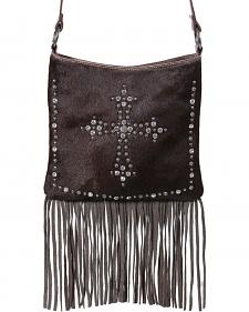 Shyanne Women's Hair-on-Hide Embellished Cross Brown Crossbody Purse