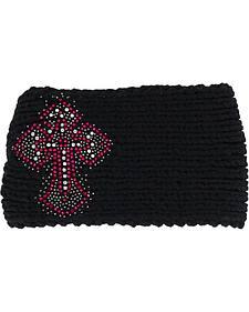 Shyanne Women's Embellished Cross Black Cable Knit Headband