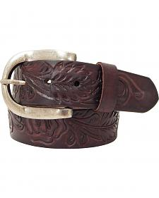 Roper Brown Women's Hand-tooled Leather Belt