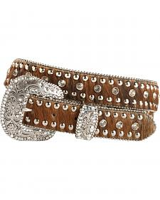 Nocona Rhinestone Hair On Hide Western Belt