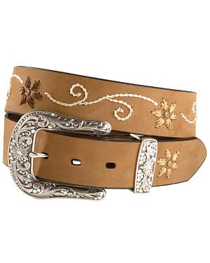 Nocona Floral Stitched Leather Belt