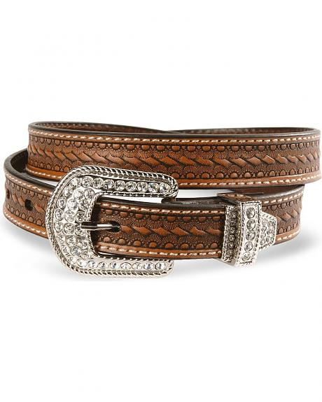 Roper bling buckle basic leather skinny belt