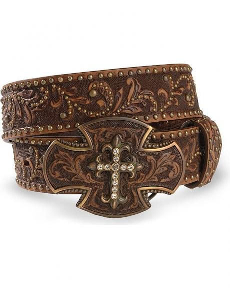 Tony Lama cross buckle leather belt