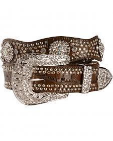Nocona Rhinestone Embellished Croc Print Leather Belt