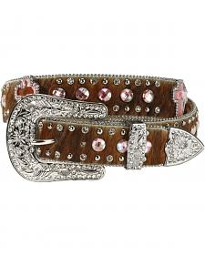 Nocona Cross Stone Hair On Hide Leather Belt