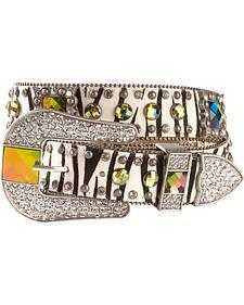 Nocona rhinestone embellished zebra print western belt
