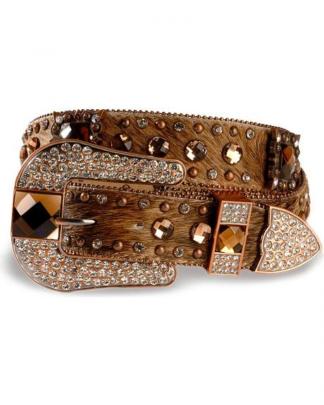 Nocona Rhinestone Hair-On-Hide Belt