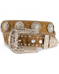 Nocona Hair-on-Hide Studded Leather Belt