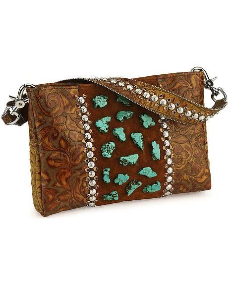 KurtMen design turquoise embellished wedge leather handbag