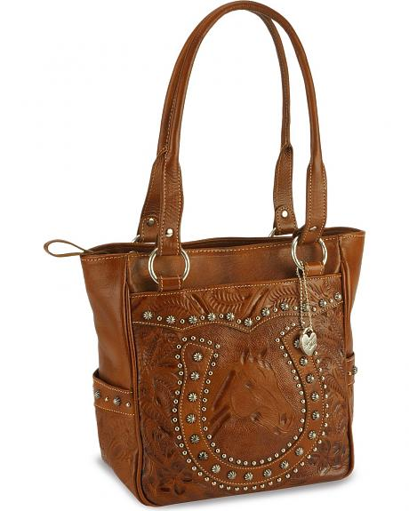 American West Studded Horseshoe Leather Tote Bag