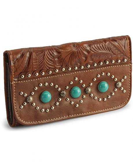 American West Turquoise Stone Leather Wallet