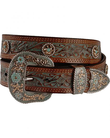 Nocona Concho Accent Painted Leather Western Belt