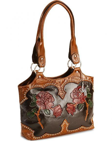 American West Artisan Rose Inlay Leather Tote Bag