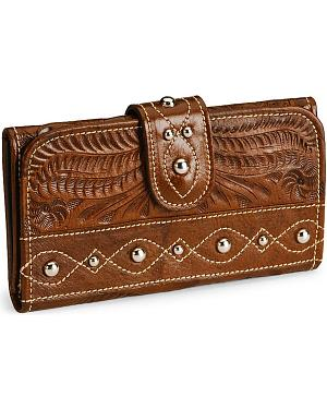American West Tri-Fold Leather Wallet & Checkbook Cover