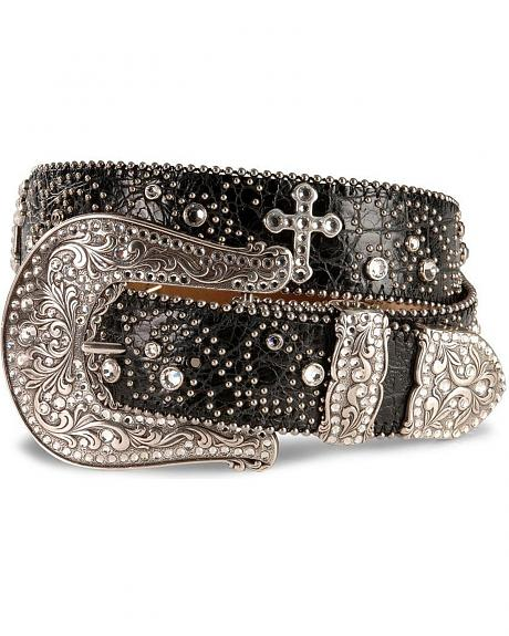 Justin Rhinestone Swirl Cross Ornament Leather Belt