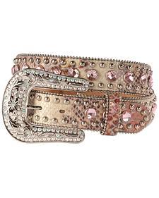 Blazin Roxx Pink Snake Print Bling Belt