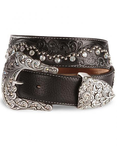 Tony Lama Kaitlyn Crystal Scalloped Leather Western Belt