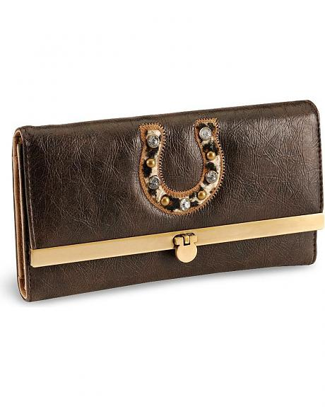 Cowgirl Up Lucky Leopard Horseshoe Wallet