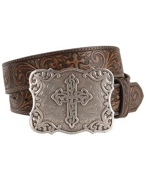 Nocona Embossed Leather Cross Buckle Belt