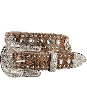 Blazin Roxx Snake Print Concho Leather Belt