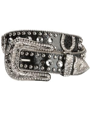 Blazin Roxx Black Horseshoe Bling Belt