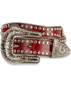 Blazin Roxx Red Croc Print Concho Bling Belt