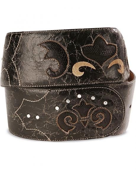 Corral Exotic Lizard Inlay Leather Hip Belt