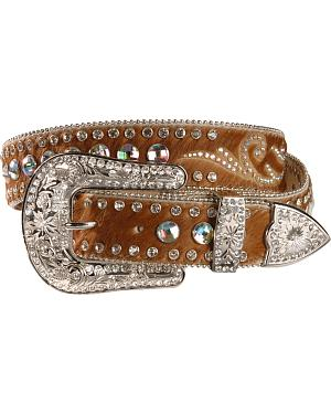 Nocona Hair On Embellished Leather Belt