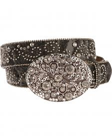 Nocona Hair-On-Hide Embellished Buckle Belt