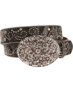 Nocona Hair On Embellished Buckle Belt