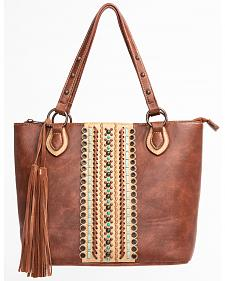 Blazin Roxx Brown Cross Overlay Hobo Handbag