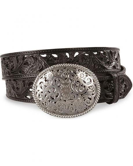 Tony Lama Black Filigree Leather Belt