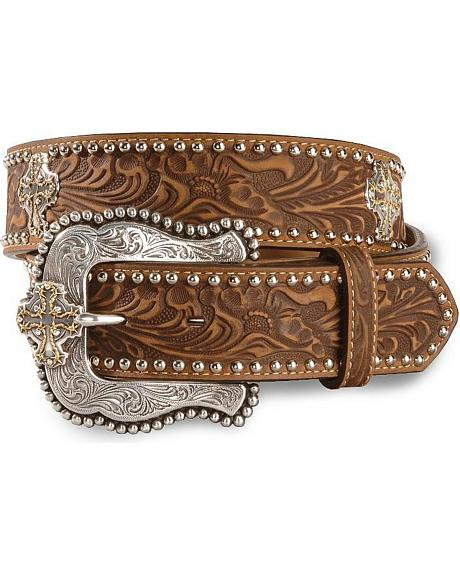 Tony Lama Prairie Cross Tooled Leather Belt